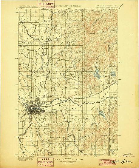 Spokane Elevation Map.Amazon Com Yellowmaps Spokane Wa Topo Map 1 125000 Scale 30 X 30