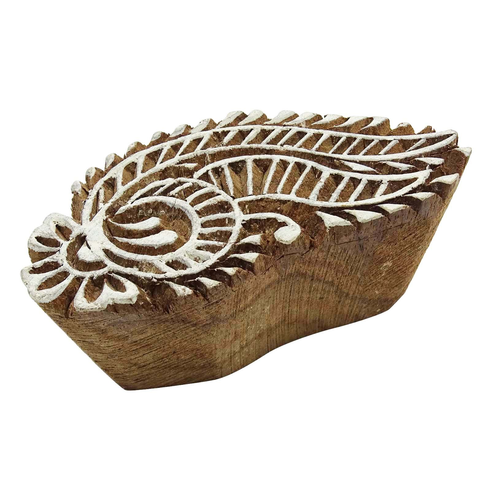 Paisley Border Stamp Textile Printing Block Brown Handcarved Stamp Wooden by Knitwit (Image #4)
