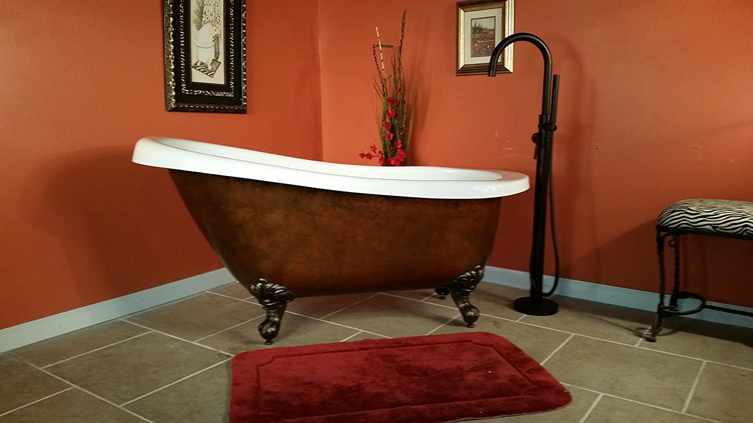 Acrylic 61 Inch Faux Copper Clawfoot Bathtub Without Faucet Holes ...