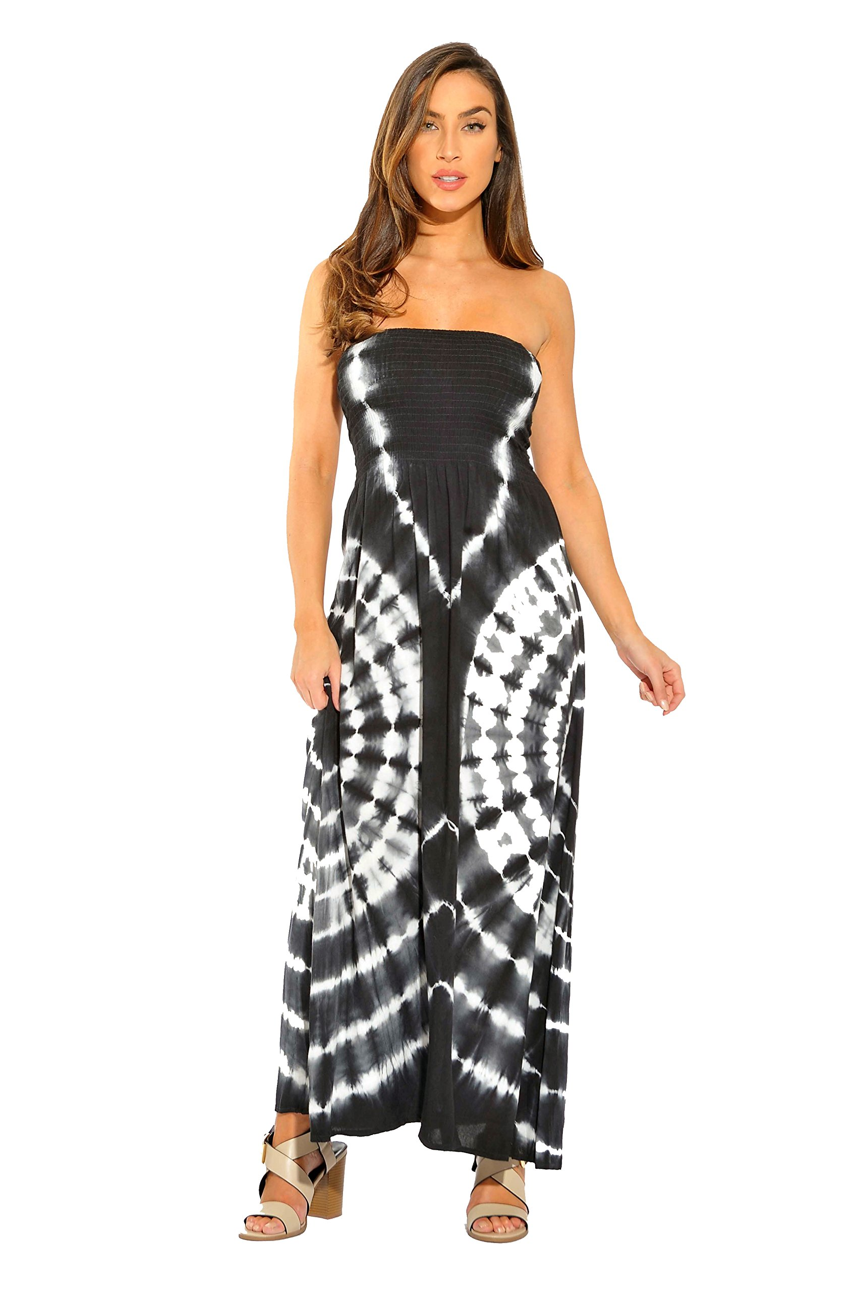 Riviera Sun 21611-BW-2X Strapless Tube Maxi Dress/Summer Dresses