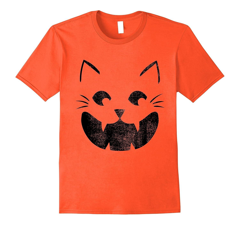 Cat Pumpkin Face Halloween Costume Jack O Lantern T-shirt-TJ