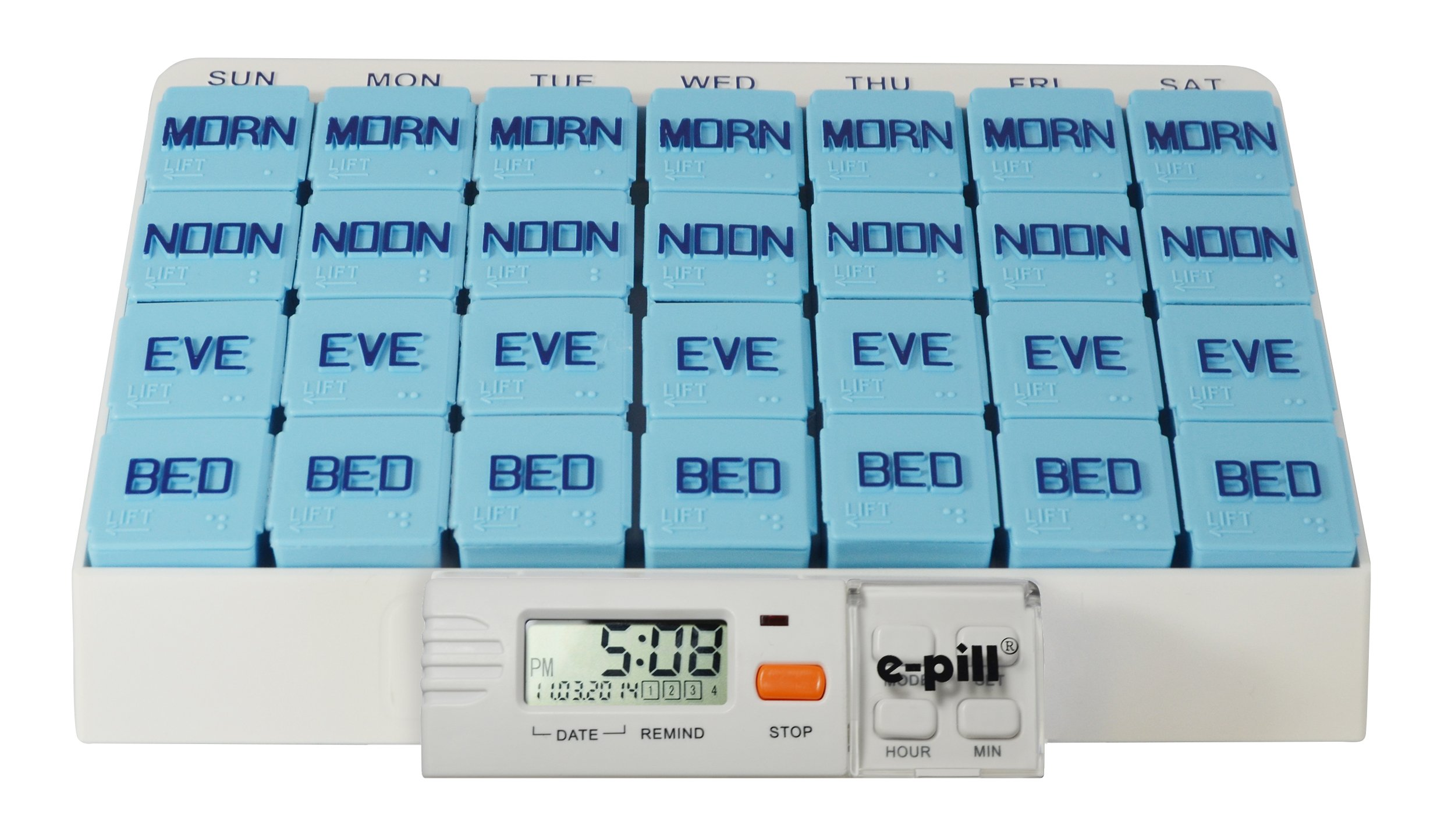 MedGlider 7 Day x 4 Large Capacity Pill Box with Med Timer. e-pill Weekly Pill Box Organizer Center for Medications, Supplements, and Vitamins. e-pill 4 Alarm Timer included. by e-pill Medication Reminders