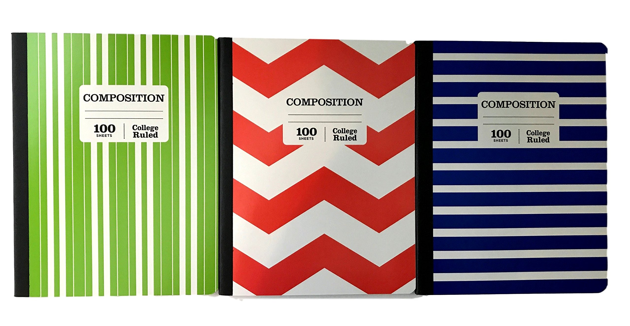 Norcom College Ruled Composition Book 3 Pack - Stripes and Chevrons