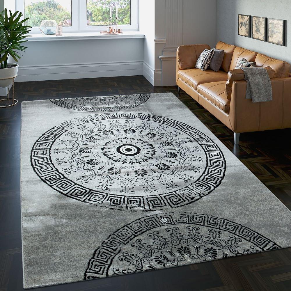 PHC Teppich Klassisch Gemustert Kreis Ornamente in Grau Schwarz Meliert, Grösse 240x340 cm