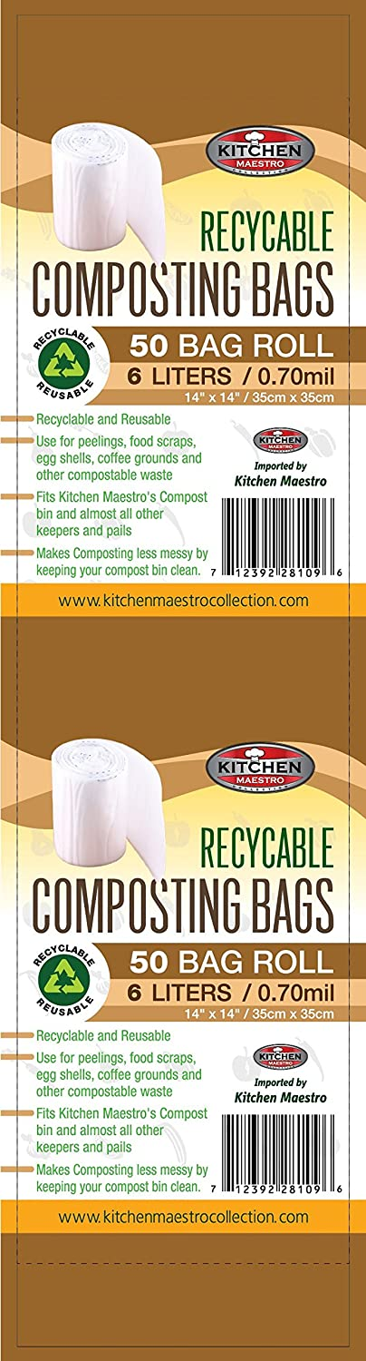 amazoncom kitchen maestro recyclable food waste compost bag and liner roll of 50 bags kitchen u0026 dining