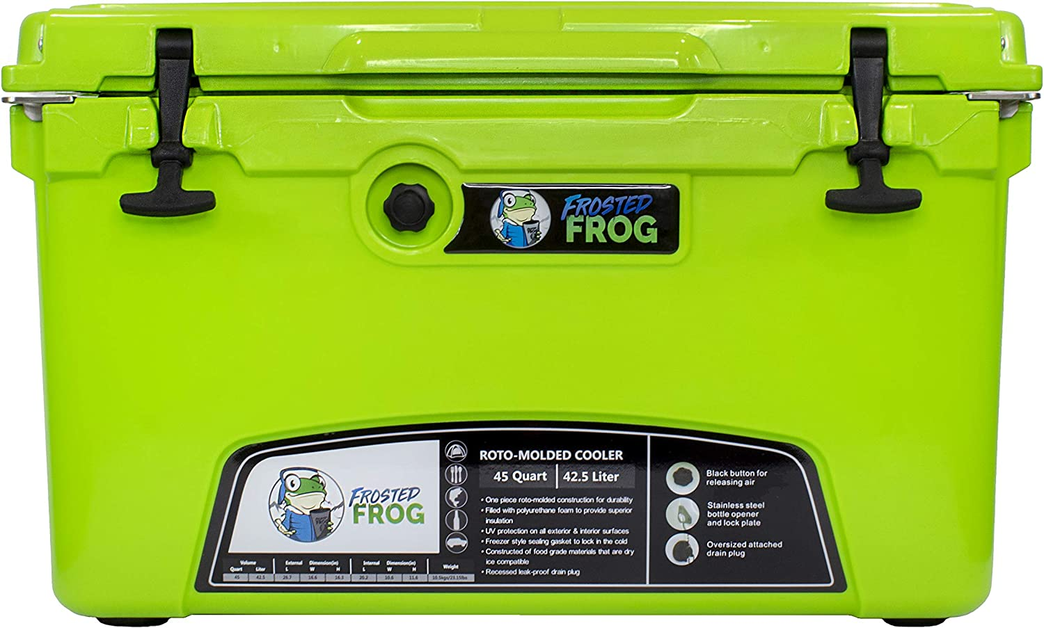 Frosted Frog Original Green 45 Quart Ice Chest Heavy Duty High Performance Roto-Molded Commercial Grade Insulated Cooler