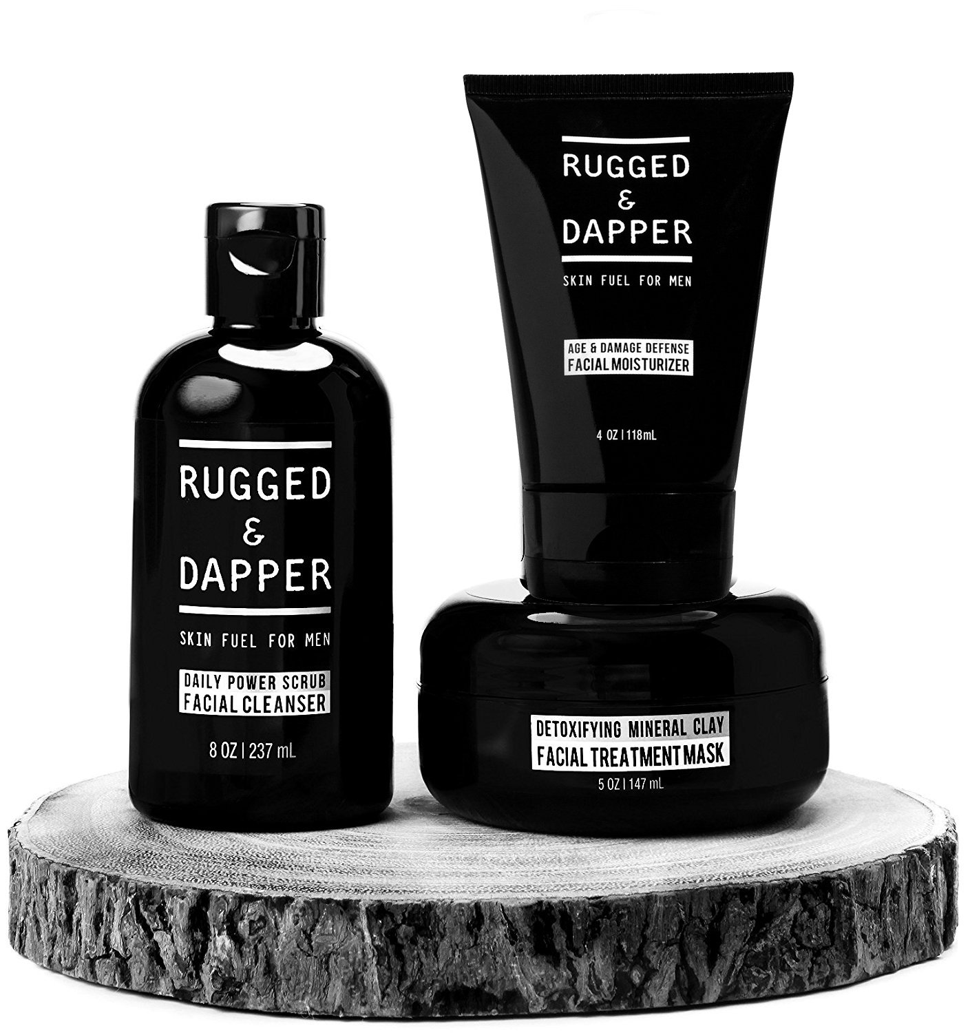 All-In-One Essential Skincare Set For Men - Grooming Kit - Age + Damage Defense Facial Moisturizer - Daily Power Scrub Cleanser - Detox Mineral Clay Facial Mask - Natural & Certified Organic by RUGGED & DAPPER (Image #1)