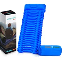 Backpacking Air Mattress Sleeping Pad - Self Inflating Waterproof Lightweight Sleep Pad Inflatable Camping Sleeping Mat w/Carrying Bag - for Camping, Backpacking, Hiking - Serenelife SLCPB (Blue)
