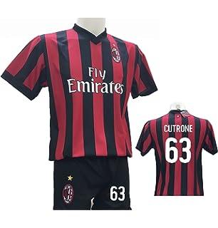 the latest 64893 f32a1 Completo Calcio Maglia Cutrone 63 Milan + Pantaloncino con Numero 63  Stampato Replica Autorizzata 2017-