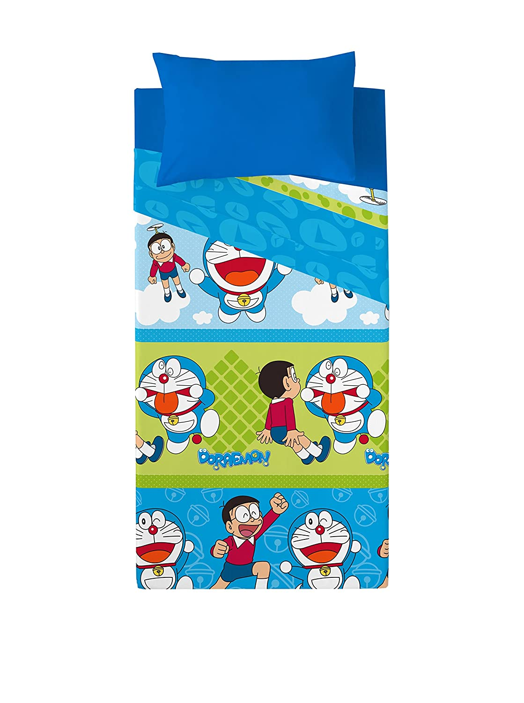 Euromoda Licencias Juego De Sá banas Doraemon & Nobita Azul 160 x 270 + 145 x 100 cm DMJSNOB_Mult-Cama90(160x270cm)
