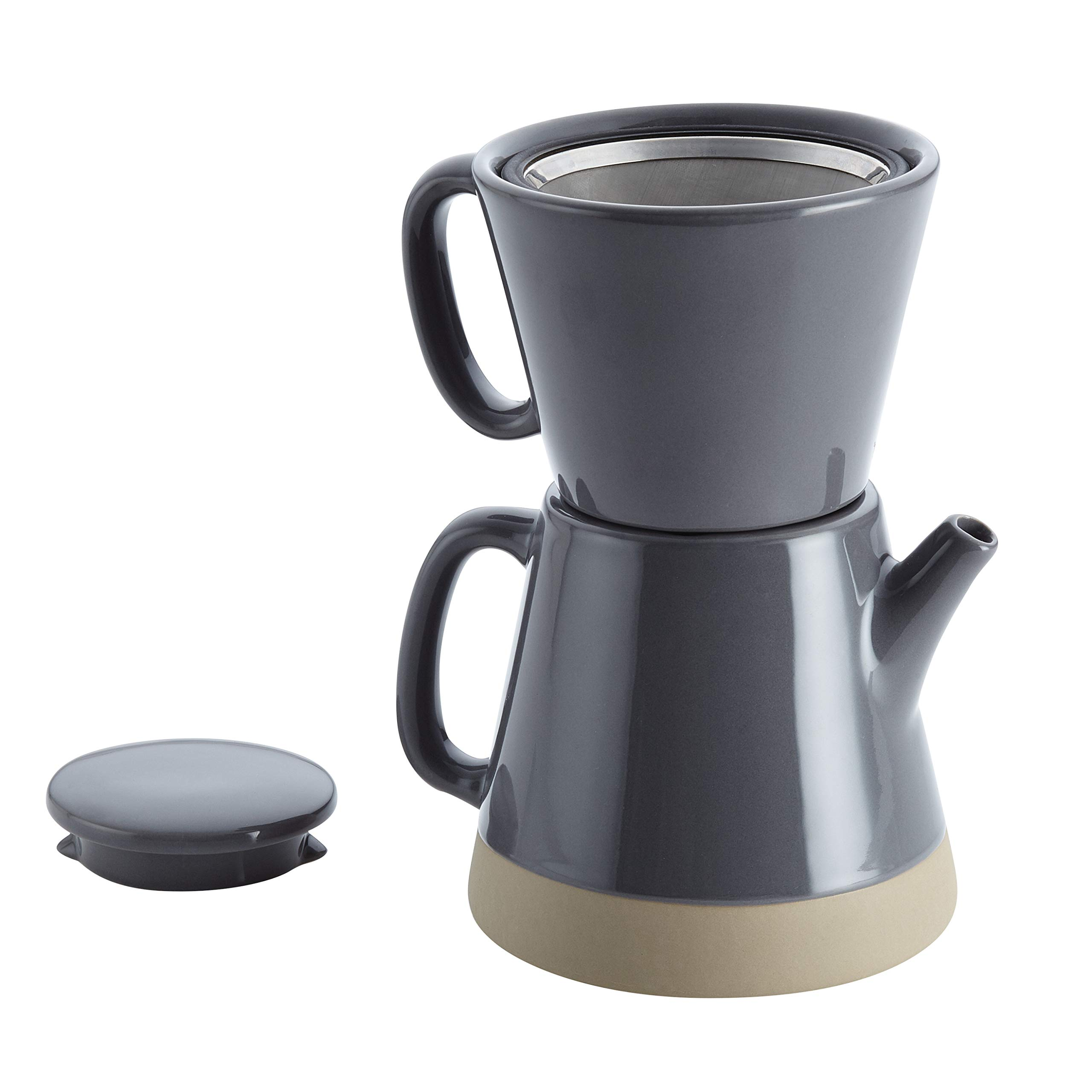 Rachael Ray Ceramic Pour-Over Coffee Set, 5-Cup, Dark Sea Salt Gray