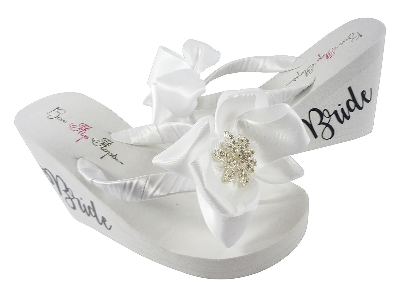 5ff28f980 Amazon.com  Vintage Rhinestone Flower Bow Bride Flip Flops - Choose color
