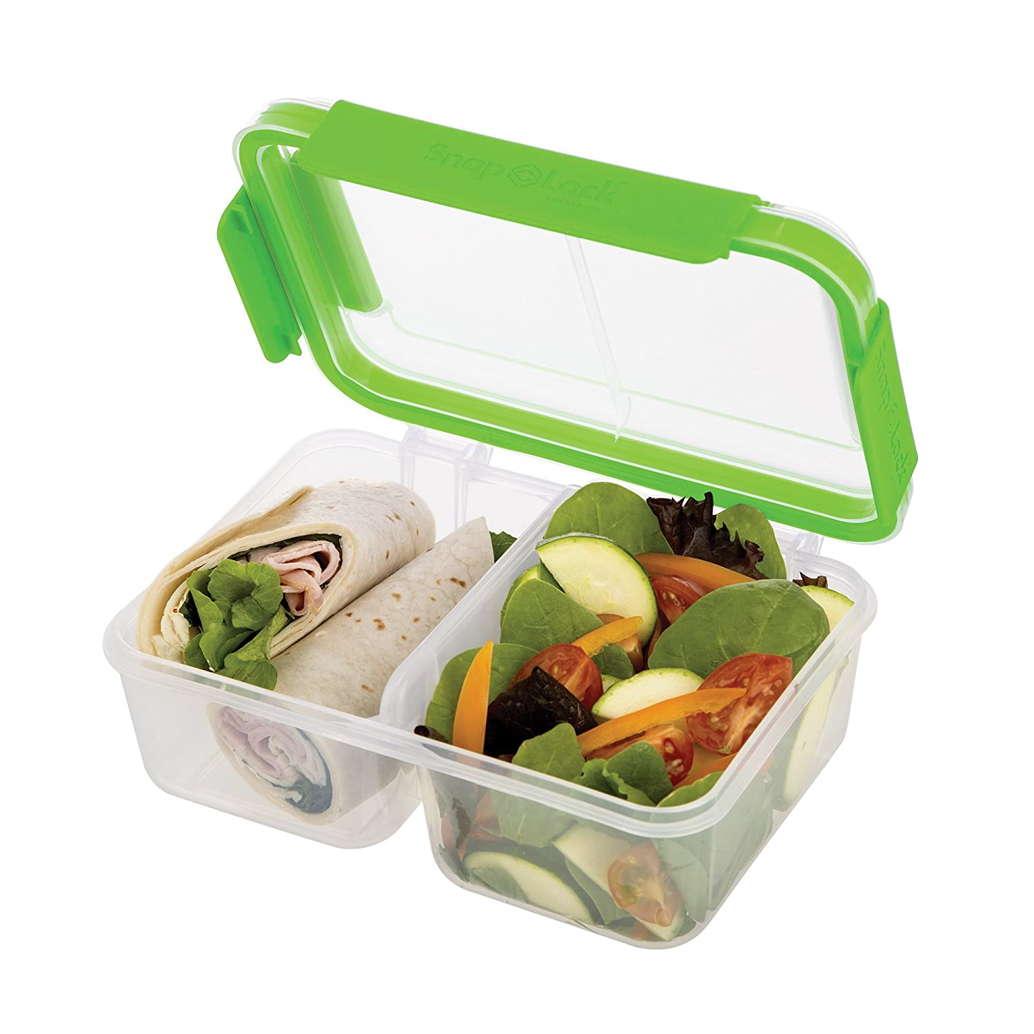 SnapLock by Progressive Deep Split Container - Green, SNL-1018GEasy-To-Open, Leak-Proof Silicone Seal, Snap-Off Lid, Stackable, BPA FREE