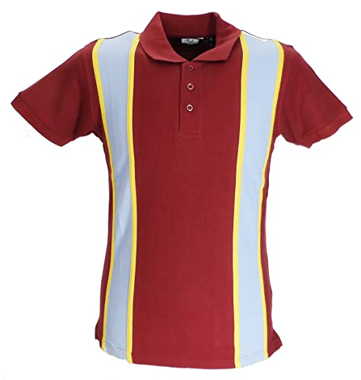 1960s Inspired Fashion: Recreate the Look Relco Striped Vintage Style Mod Polo Shirts Burgundy/Sky £24.99 AT vintagedancer.com