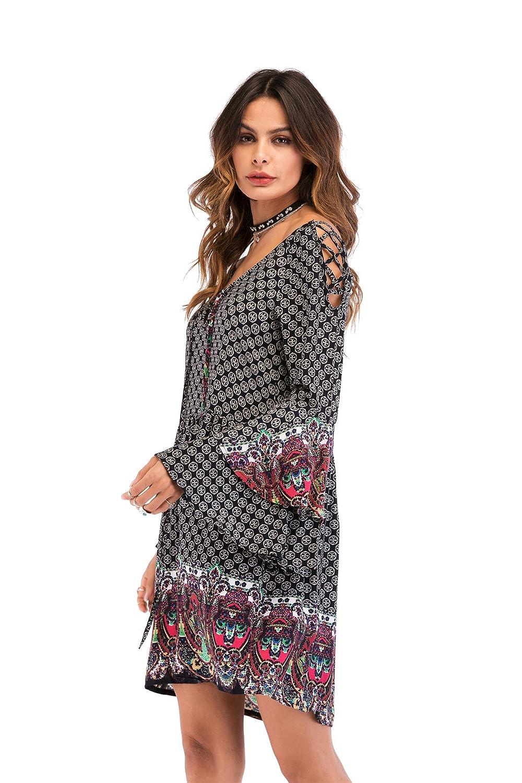 Langarm Damen Kleid V-Ausschnitt Flared Ruffled Minikleid Boho Volant Cocktail