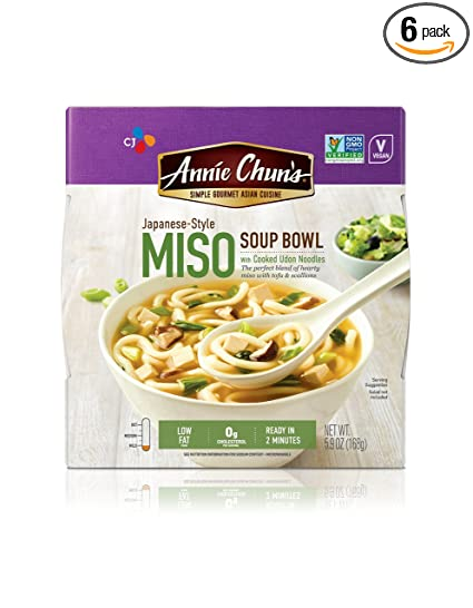 Annie Chun's Miso Soup Noodle Bowl, Non-GMO, Vegan, 5.9-oz (Pack of 6)