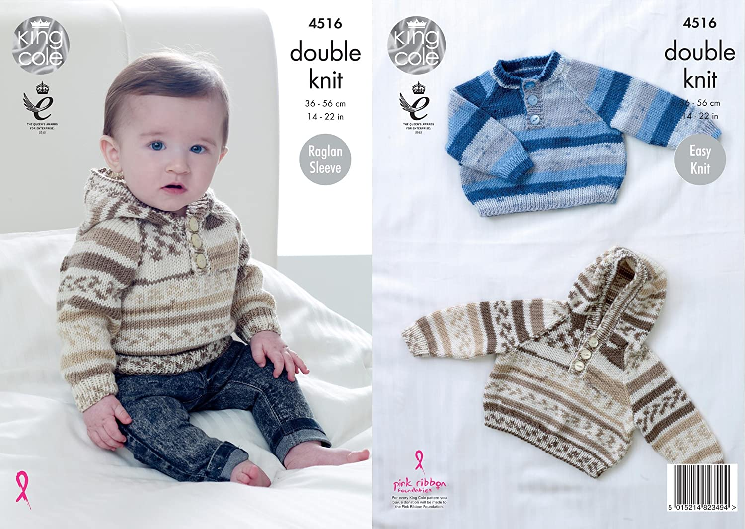1c7cda90d09d5 King Cole 4516 Knitting Pattern Baby Sweater and Hoodie with Raglan Sleeves  to knit in Cherish DK  Amazon.co.uk  Kitchen   Home