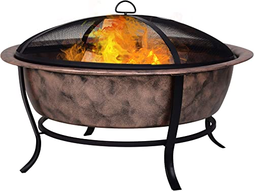 Outsunny 35″ Outdoor Fire Pit Wood Burning Black Rustic Cauldron Style Steel Bowl w/Log Poker Mesh Screen Enclosure