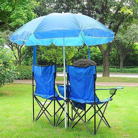 Yescom Double Folding Chair w Umbrella Table Cooler Fold Up Picnic C&ing Beach Garden  sc 1 st  Amazon.com & Amazon.com: Yescom Double Folding Chair w Umbrella Table Cooler Fold ...