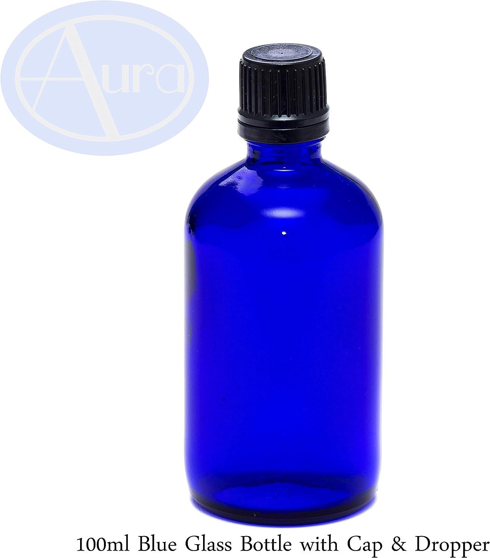 Botella para aceites esenciales/aromaterapia - Cristal azul - Tapón negro y cuentagotas - 100 ml