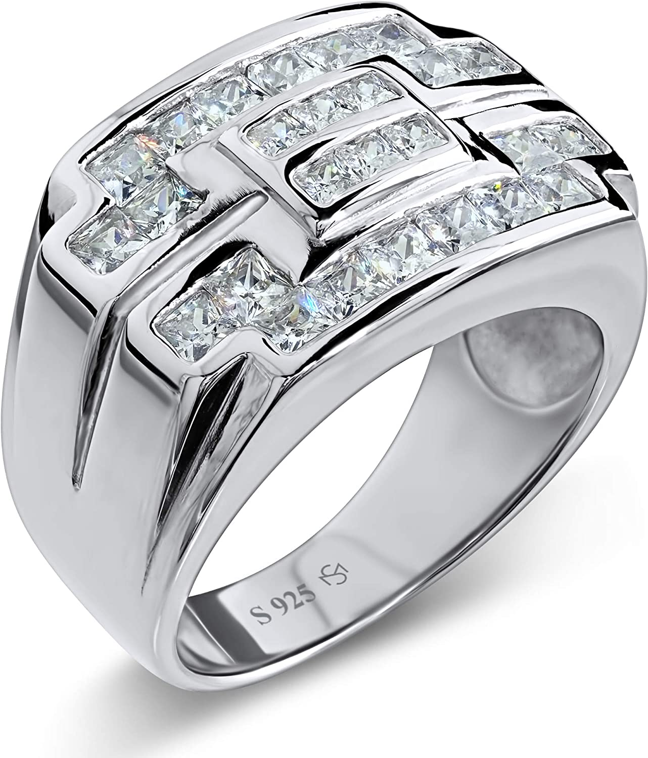 [2-5 Days Delivery] Men's Sterling Silver .925 Ring Featuring 26 Channel-Set Square Cubic Zirconia (CZ) Stones, Platinum Plated. By Sterling Manufacturers. Flashy Eye Catching Design.