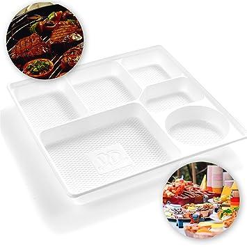 100 bandejas de plástico blanco para servir – 6 compartimentos de sección – platos de comida