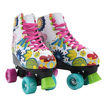 Stemax Quad Roller Skates for Girls and Women-Size 2.5 Kids to 8.5 Women -Outdoor, Indoor and Rink Skating- Classic High Cuff with Adjustable Lace System