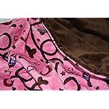 "Minky Blanket - Baby Blanket, Toddler Blanket, Child Blanket - Western, Rodeo, Cowboy, Cowgirl Minky Blanket (Medium (@29""X35""), Pink)"