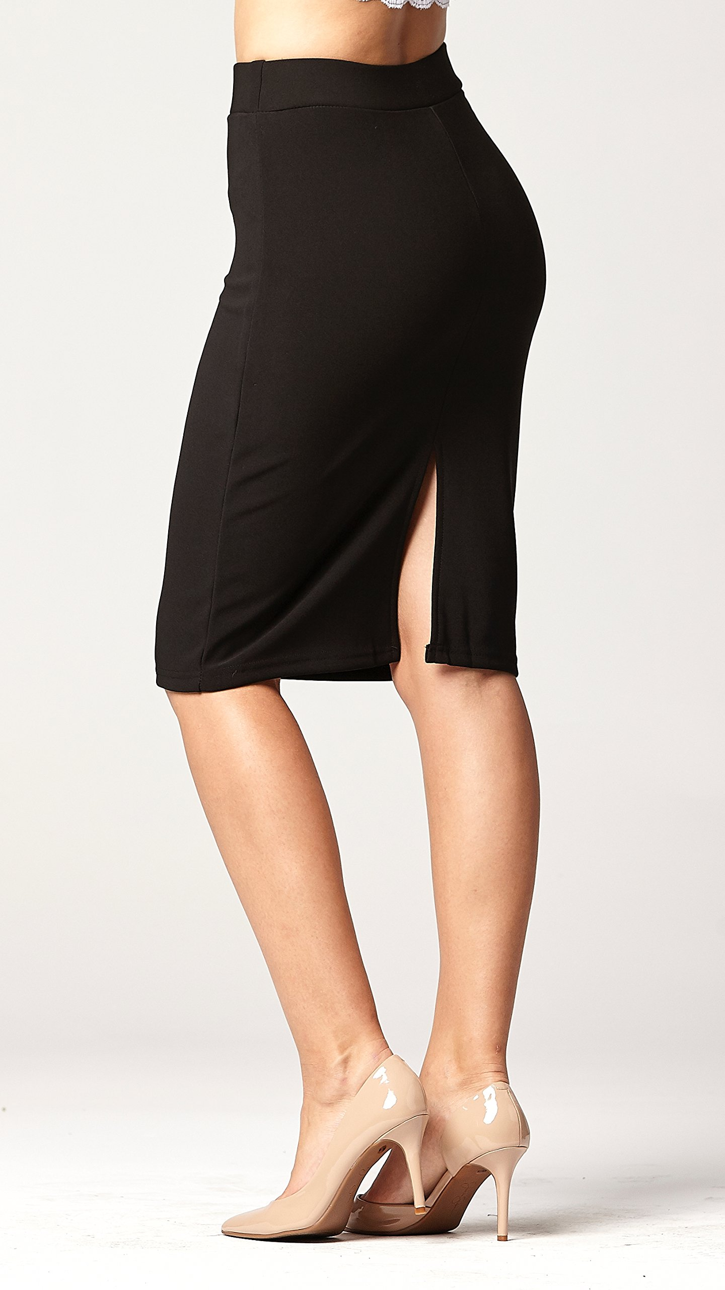 Conceited Premium Stretch Pencil Skirt - 10 Colors - by (Small, Black) by Conceited (Image #4)