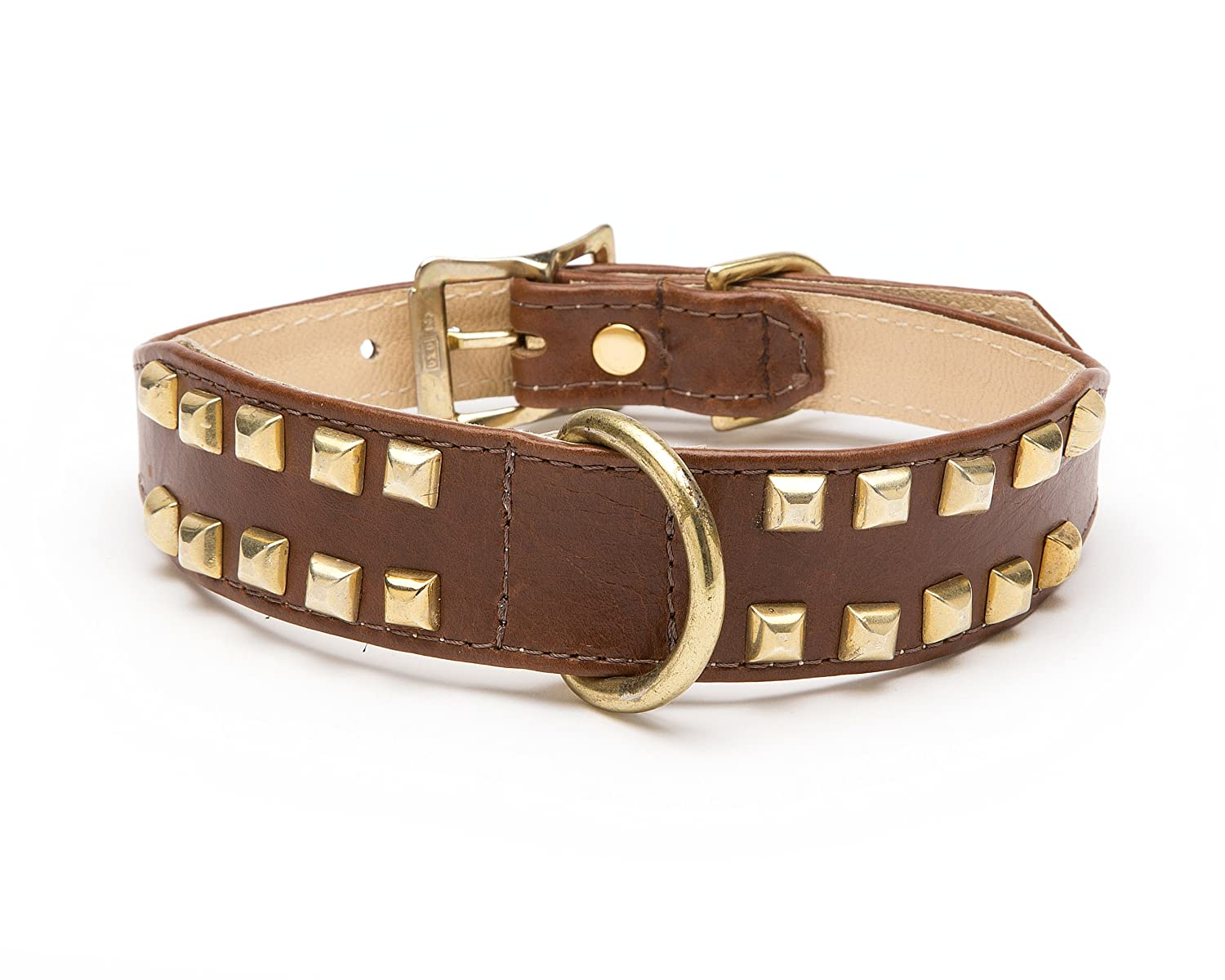 Double Row Pyramid Tapered Dog Collar, Medium Size 11-14, Brown with Brass Pyramids