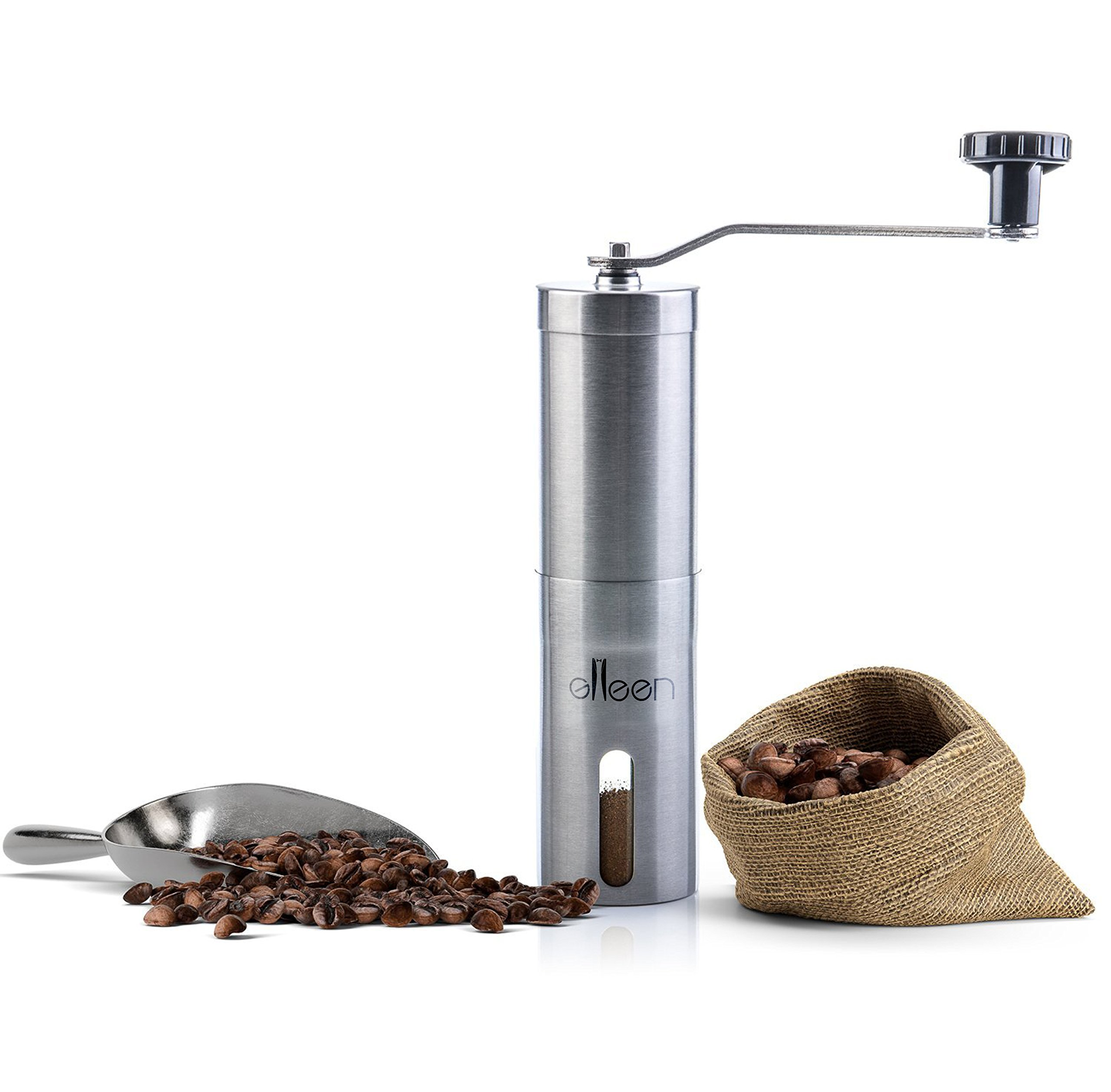 Portable Hand Coffee Grinder, Stainless Steel 18/8, Hand-Rolling Pepper Grinder, Ceramic Grinding Core, Adjustable Nut, Burr Grinder By Glleen