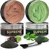 Organic Black and Green Tea Face Clay Mask by Matykos - Natural Soothing Wash-Off Hydrating Matcha Avocado Facial Masks - Cle