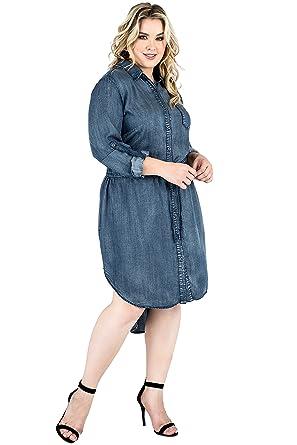 f40c176888b Standards & Practices Plus Size Women's Tencel Collared Drawstring  Shirtdress Size ...
