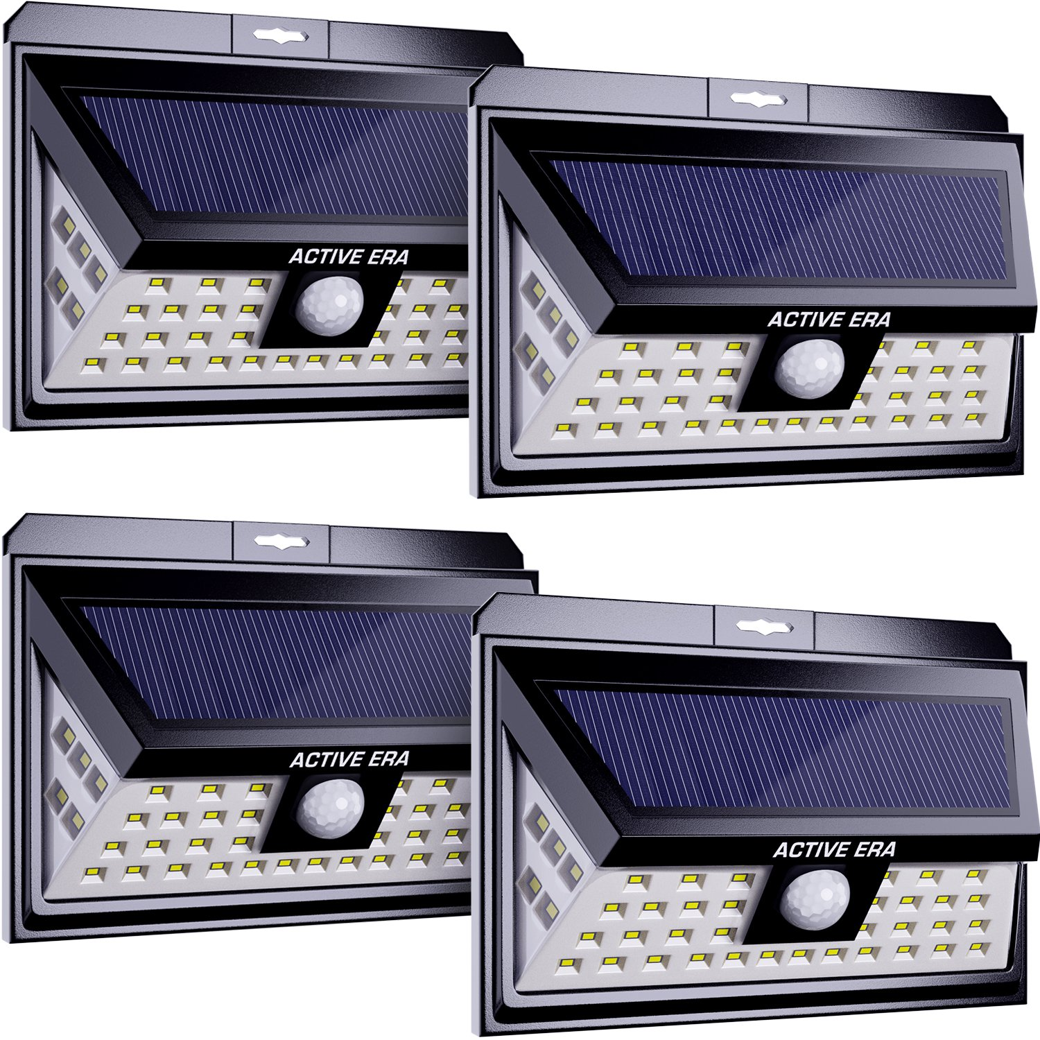 Active Era Solar Powered Wireless Outdoor 44 x LED Security Light with Motion Sensor & Waterproof Design, Bright Solar Lights for Front Door, Patio, Back Yard, Driveway, Steps & Garage (4 Pack)
