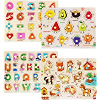 Rompecabezas de Madera Puzzle Clavijas Puzzles Conjunto de 4 Alfabeto, Número, Animales y Fruta Puzzles para niños…