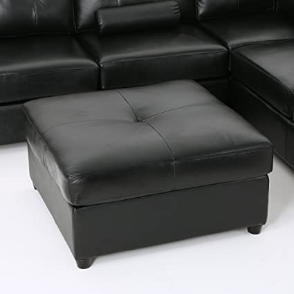 Awesome Amazon Com Finney Top Grain Leather Ottoman Black Theyellowbook Wood Chair Design Ideas Theyellowbookinfo