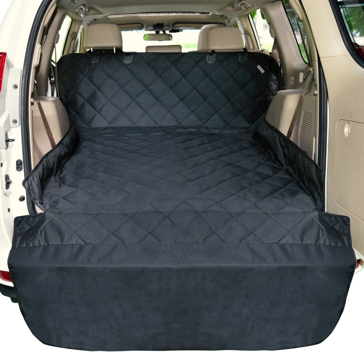F-color SUV Cargo Liner for Dogs, Waterproof Pet Cargo Cover Dog Seat Cover Mat for SUVs Sedans Vans with Bumper Flap Protector, Non-Slip, Large Size Universal Fit