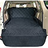 F-color Waterproof Dog Car Seat Cover Nonslip Rubber Backing with Anchors Universal Design for Cars SUVs Trucks, Durable, Black Pet Seat Cover