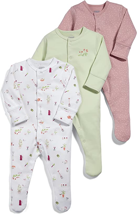 Mamas /& Papas Baby Girls Footies Pack of 3