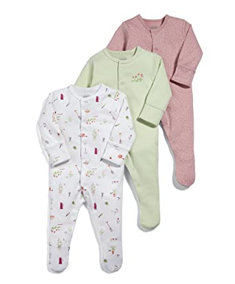 Mamas & Papas Pack of 3 Garden Sleepsuits, Pelele para Bebés, Verde (Green