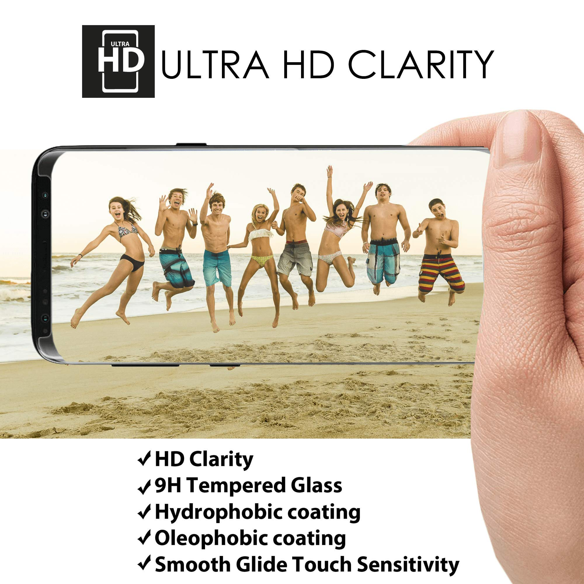 Clearview Samsung Galaxy S8 Liquid Tempered Glass Screen Protector - 9H Ultra Clear HD Japanese Glass, Full Screen Edge Coverage, Easy Install, Loca UV Light, Case Friendly (Full Kit) by Clearview (Image #4)