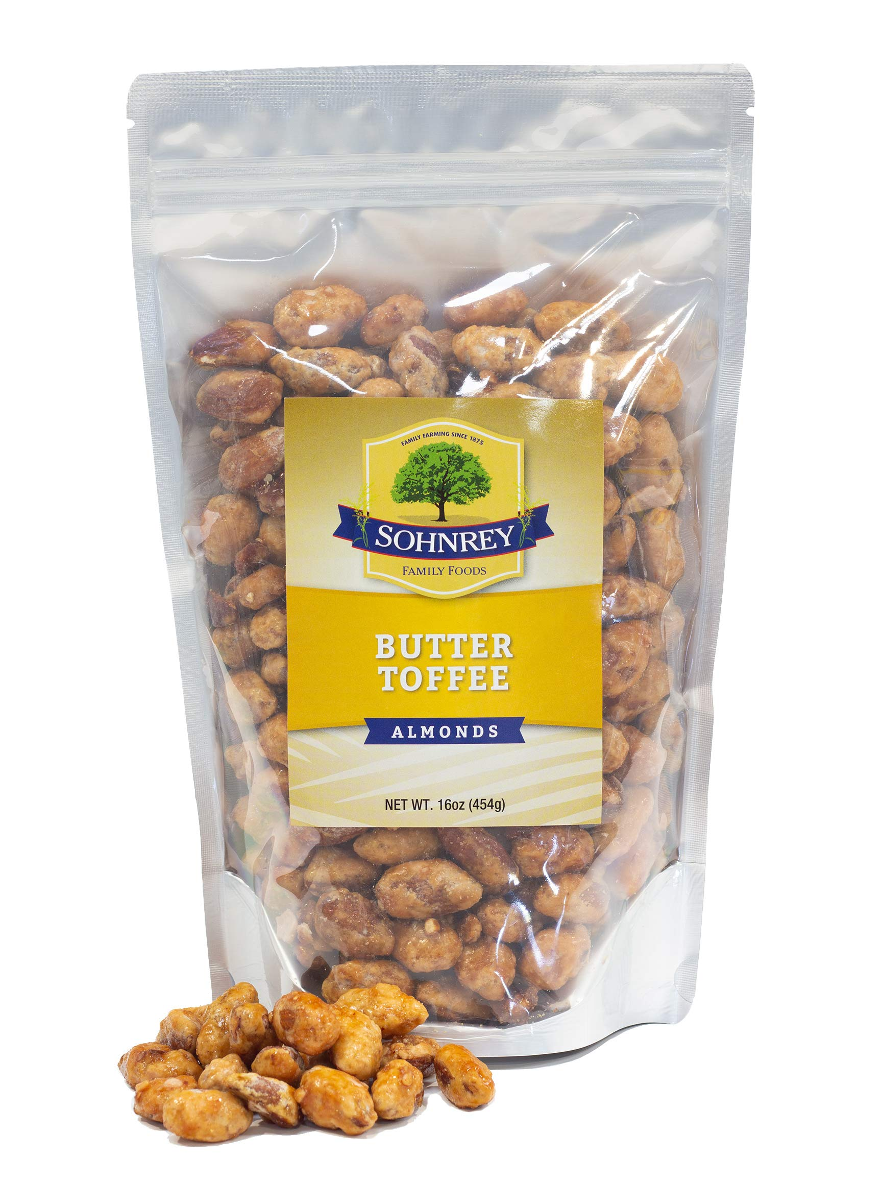 Butter Toffee Almonds Fresh Gourmet Sweet and Salty Crunch Resealable Bag from Sohnrey Family Foods (1 lb) by Sohnrey Family Foods