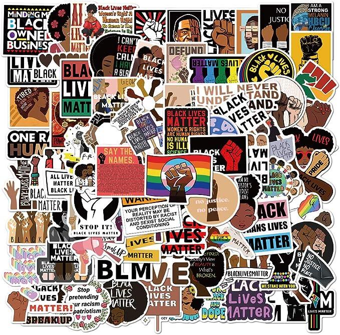 Black Rights Defender Stickers 50pcs Black Lives Matter Office Laptop Decor Life Saying Art Waterproof Vinyl Decal for Car Window Glass Decoration Water Bottle Phone Case Skateboard Luggage Bike