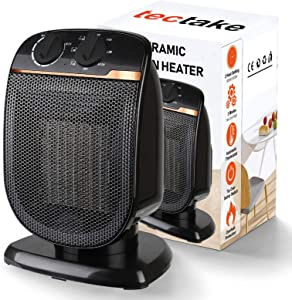 Electric Space Heater Portable -120° Oscillating Ceramic Fan Heater with Adjustable Thermostat, Overheat Protection, for Personal Outdoor Office Desk Garage Patio Heaters