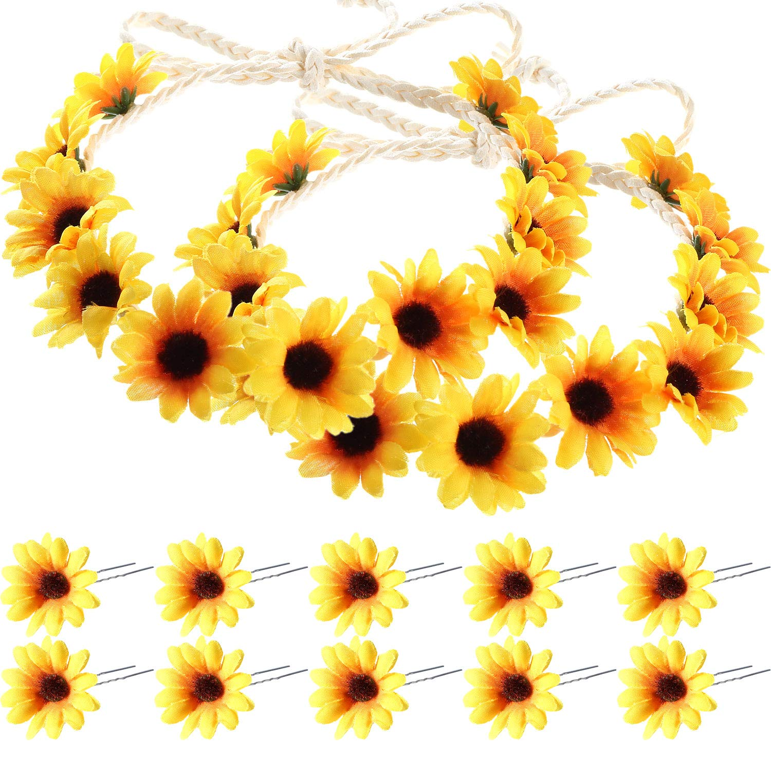 10 Pieces Sunflower Hair Pins Floral Hair Clips with 2 Pieces Sunflower Wreath for Women and Girls, Performances, Parties, Weddings, Festivals Boao