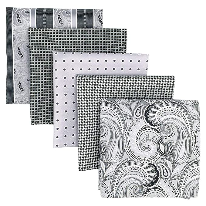 SHLAX&WING 5 Pieces Assorted Mens Silk Pocket Square Handkerchiefs Set 22 best pocket squares