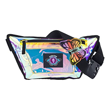 e4cbf2660dc0 Dan-Pak CLEAR FLASK FANNY PACK BY HYDRATION WAIST PACK SEE THROUGH VINYL  HOLOGRAPHIC