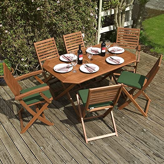 wooden garden furniture set 6 seater folding dining set this 7 piece table - Garden Furniture 6 Seats