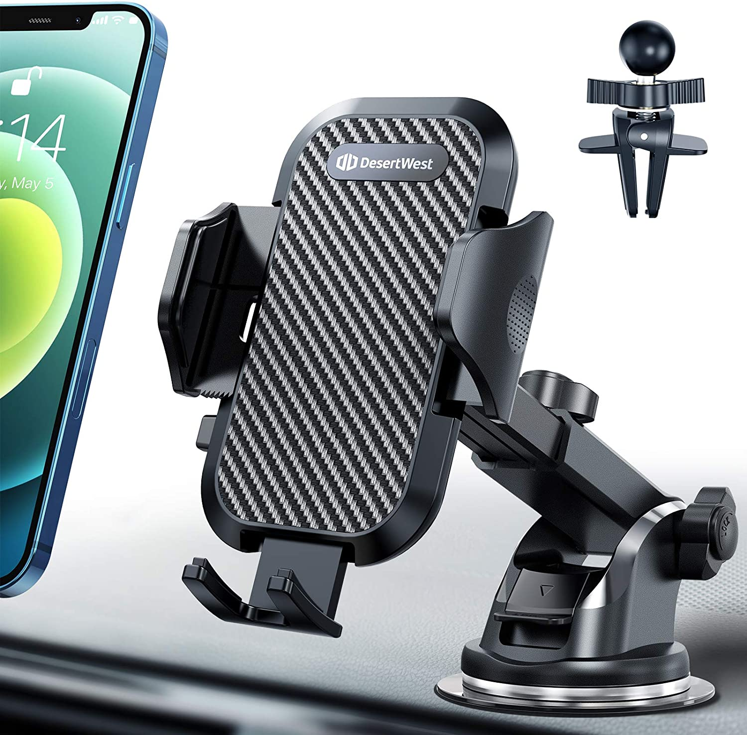 Universal Car Phone Mount Car Phone Holder for Car Dashboard Windshield Air Vent Long Arm Strong Suction Cell Phone Car Mount Fit with iPhone SE 11 Pro X XS Max XR Galaxy S20 All Phones