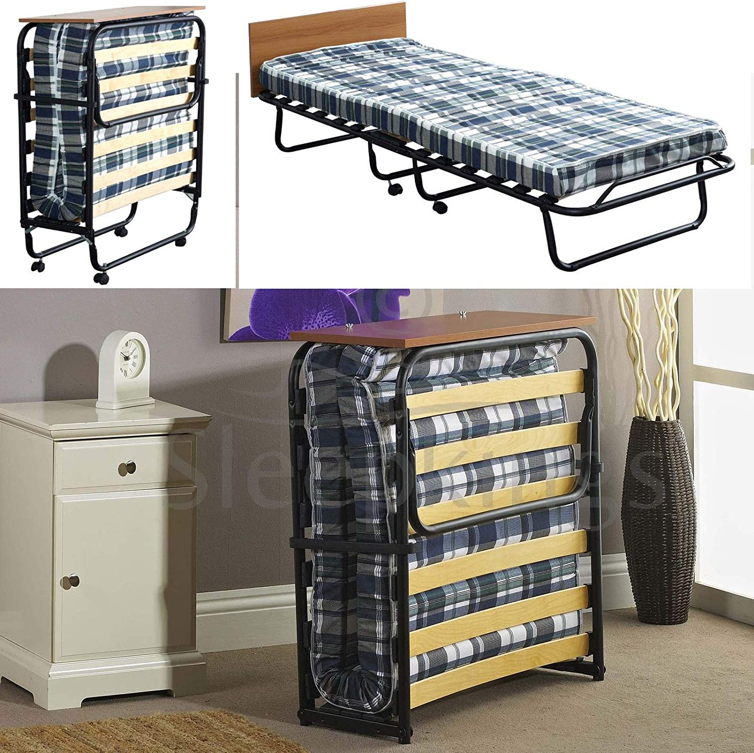- Mattressman-memoryfoam 2ft6 Single Folding Guest Bed With Headboard Compact  Bed With Sprung Slatted Base: Amazon.co.uk: Kitchen & Home
